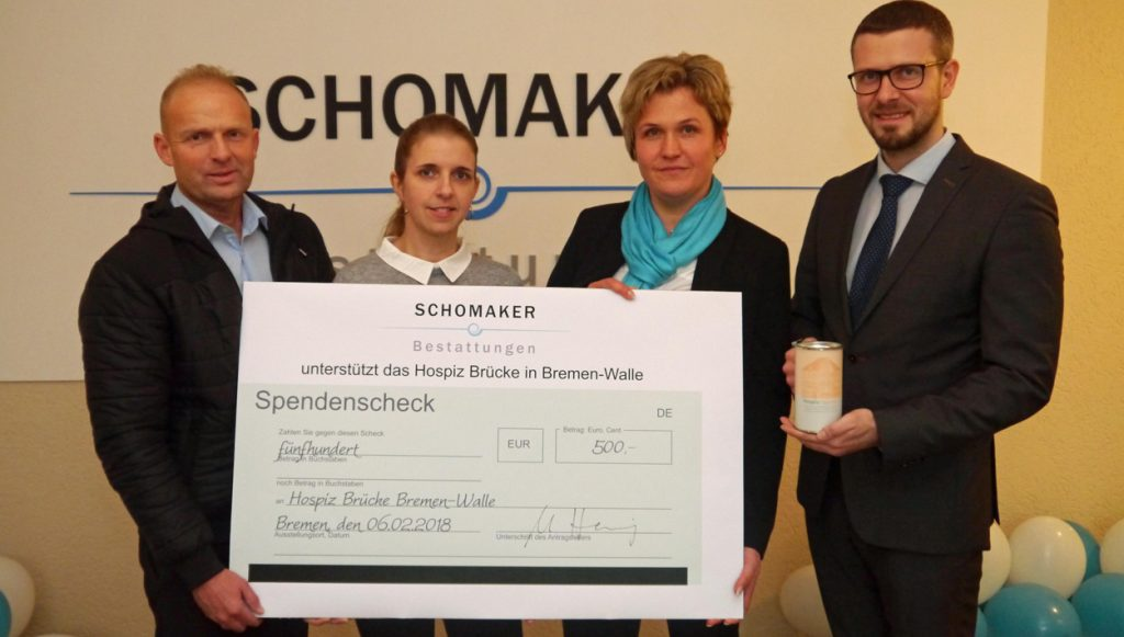 Aktuelles Spende Schomaker Hospiz Brücke 500 Euro